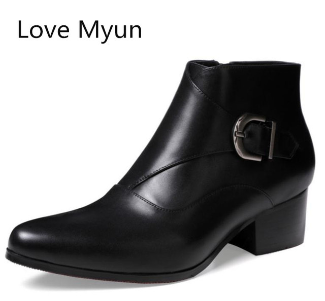 897584020338 New autumn winter mens pointed toe high heels genuine leather boots shoes  men fashion buckle red soles design plush ankle boots