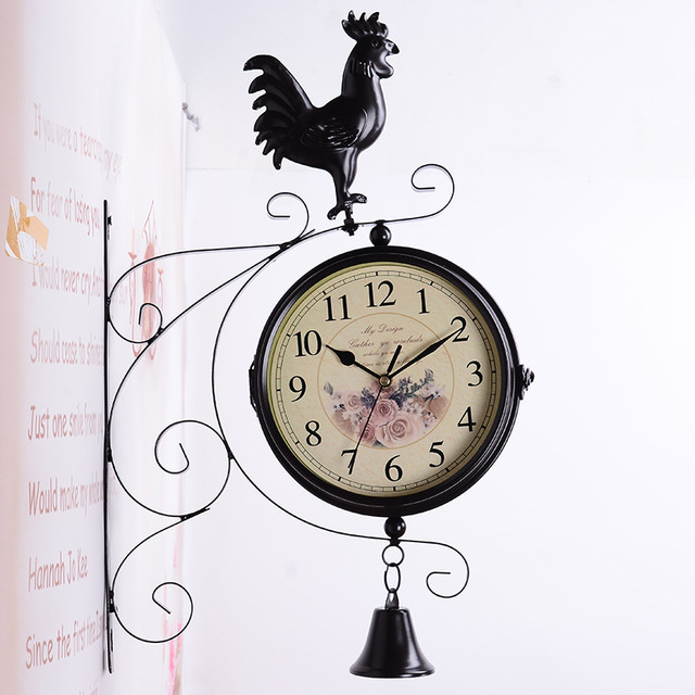American Style Double Face Wall Clock for Home Decor Living Room Wall Clock Vintage Garden Iron Rooster Crafts Silent Clock