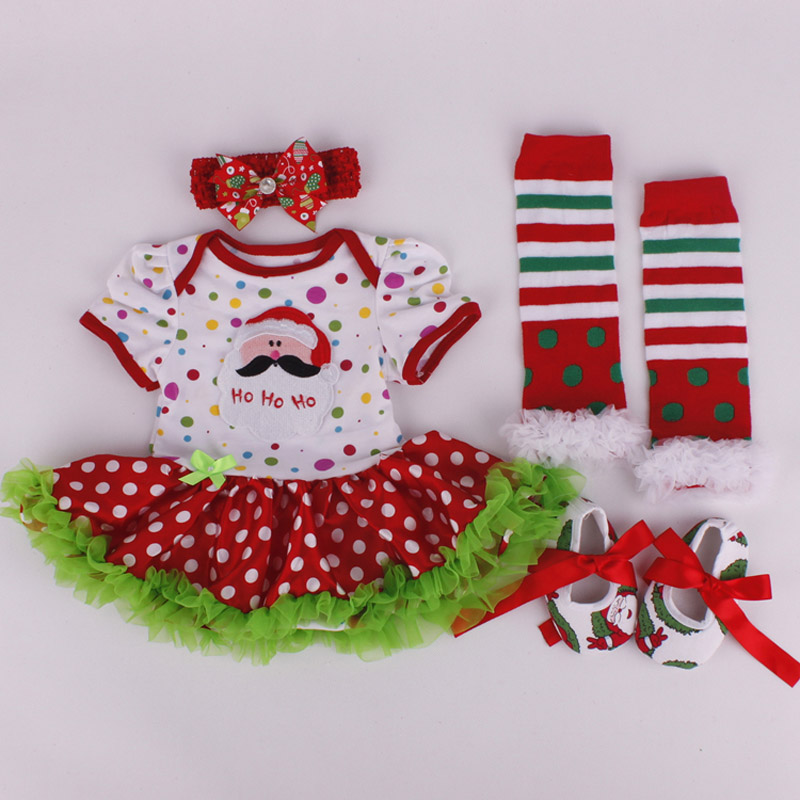 ffddcbc5c719 4PCs per Set Christmas Outfit Santa Polka Dots Baby Girls Tutu Dress ...