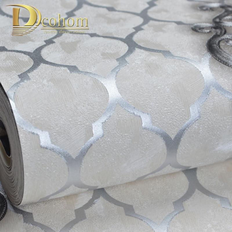 High Quality Black Sliver Diamond Lattice Pattern Damask Wallpaper Floral Textured Embossed Wall Paper Vinyl Home Decor