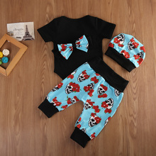 Newborn Baby Girl Skull Romper Pants and Hat Set