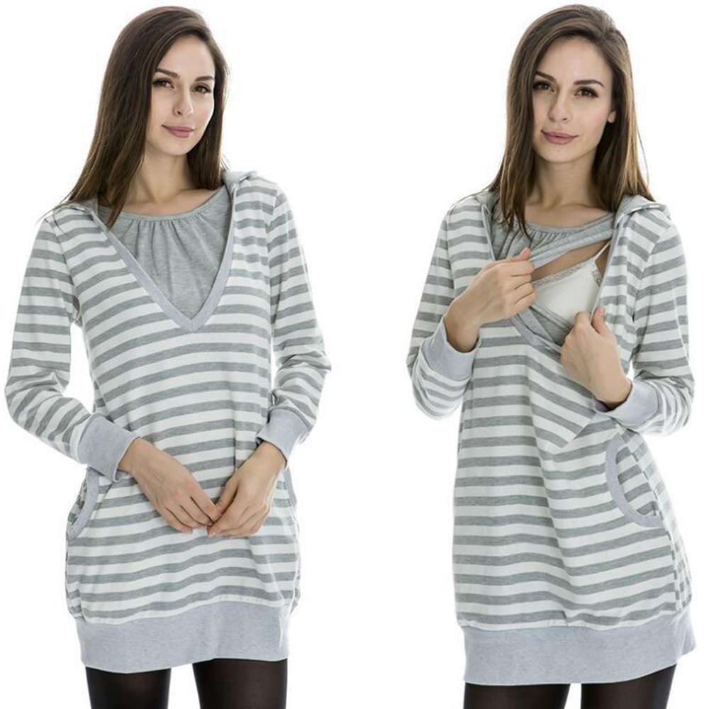Plus Size Pregnancy Autumn Women Maternity Clothes Hooded Breastfeeding Striped T-shirt Nursing Clothes for Pregnant Women цена 2017