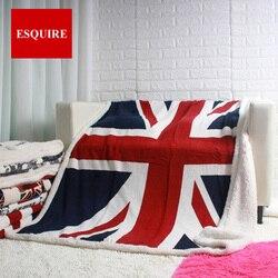 Dwuwarstwowy gruby anglia UK wzór flagi sherpa pluszowy koc ozdobny 50x60 cali w Koce od Dom i ogród na