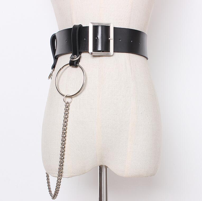Women's Runway Fashion Punk Style PU Leather Chain Cummerbunds Female Dress Corsets Waistband Belts Decoration Wide Belt R1419