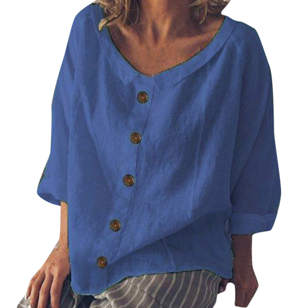 Trendy Daily News: New Trendy Women Loose Cotton And Linen Blouse Button