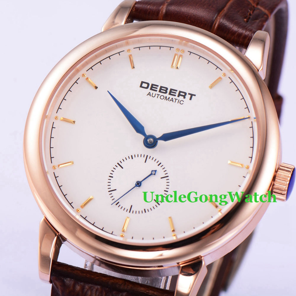 Debert 40mm White Dial Blue Hand Brown Leather Strap Sapphire Glass Rosegold Polished Case Mens Mechanical Watches