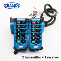2 transmitters + 1 receiver industrial remote controller switches 10 Channels keys Direction button Hoist Crane F21 E2B 8 Blue