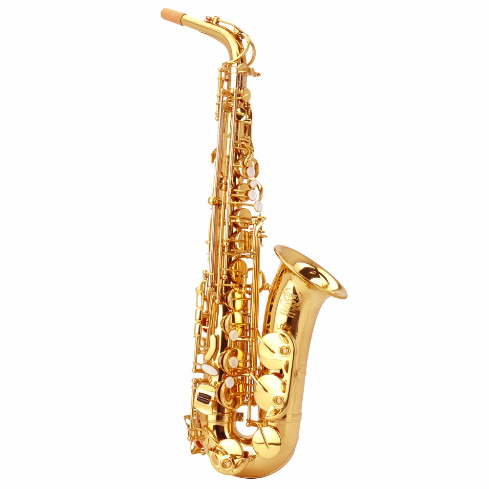 Professional performance level Falling tune E or F gold saxophone thick-tube alto saxophone professional playing sax bag cover professional alto sax saxophone black nickel body and gold keys abalone shell high f