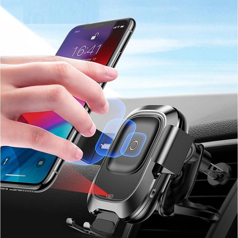Support pour téléphone de voiture pour iPhone capteur infrarouge Intelligent Qi chargeur de voiture sans fil support pour téléphone portable