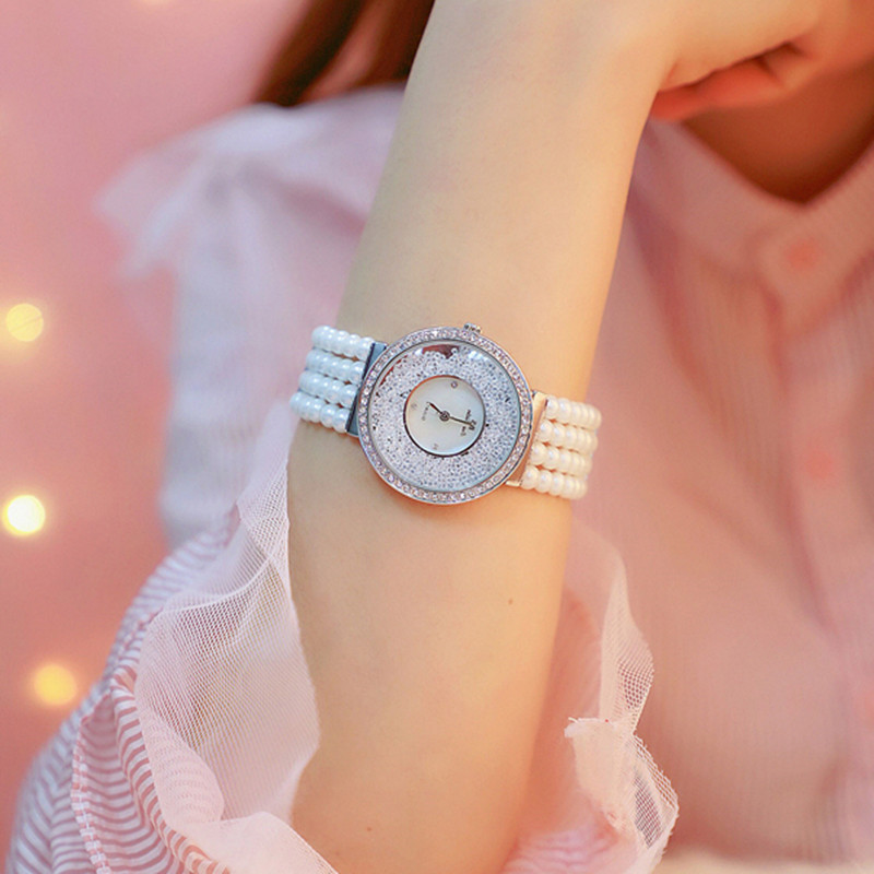 2020 Luxury Pearl Strap Casual Woman Watches Fashion Ladies Watch Women Rhinestone Quartz Watches Women Bracelet Reloj Mujer