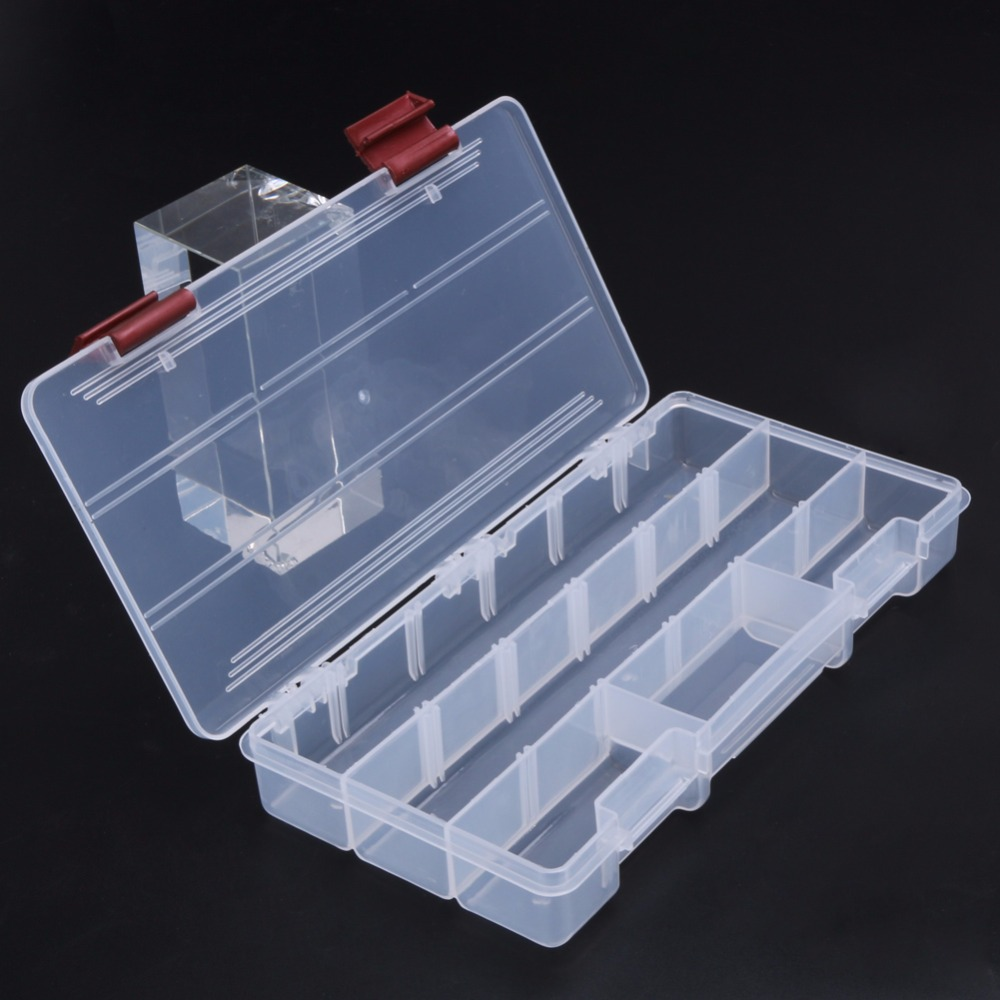 Transparent Fishing Lures Box Plastic Visible Carp Fishing Box Holder Bait Sinkers Storage Case Fishing Tackle Box 5 Compartment