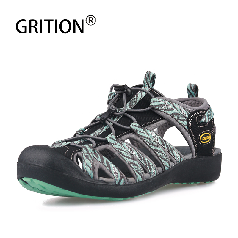 GRITION 2019 Women Beach Sandals Summer Outdoor Flat Casual Water Shoes Femme Comfortable Sport Walking Breathable