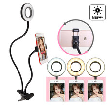 LED Selfie Ring Licht Mobiele Telefoon Houder Stand USB Dimbare Foto Licht YouTube Live Video Make Camera Lamp voor iPhone android(China)
