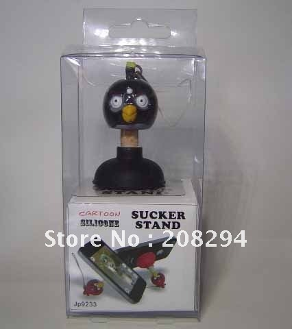 wholesale free shipping,Angle bird silicone sucker stand for Iphone and Mobile phone