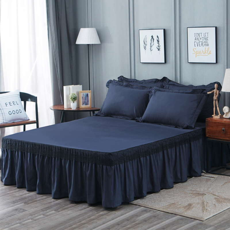 Lace Edge Ruffled Elastic Bed Skirt Pillowcases Navy Blue Grey Lightweigh Ultra Soft Bedskirt Twin Queen King Size Bed Sheet Set