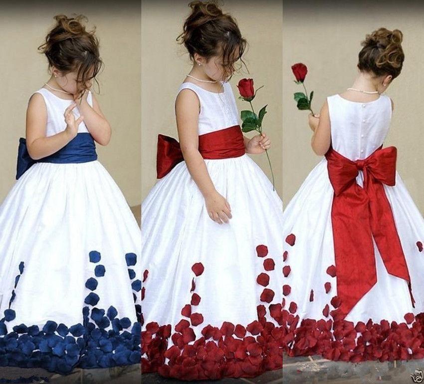 Blue 2019 Flower Girl Dresses For Weddings Ball Gown Satin Flowers Bow Long First Communion Dresses For Little Girls