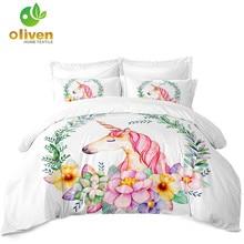 Princess Unicorn Bedding Set Girls Cartoon Duvet Cover Flowers Cactus Print Bed Pillowcase Soft Bedclothes 3Pcs D35