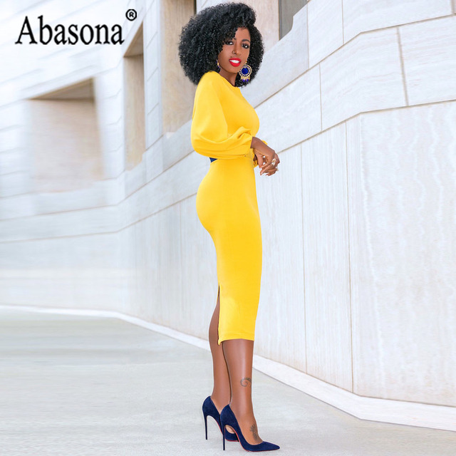 Abasona Yellow Pencil Dress Women O Neck Long Sleeve Split Woman Slim Midi Dress Ladies Fashion Patchwork Elegant Party Dresses 5