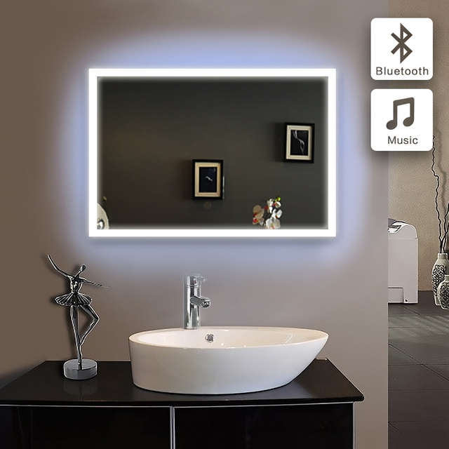 Bluetooth Illuminated Led Bath Mirror 90 240v70x100cm In Bathroom Piegel Badkamer Gl
