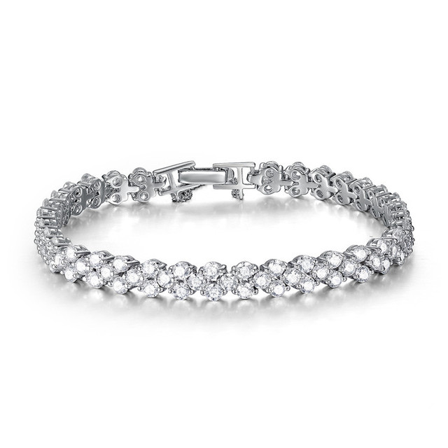 Sterling-silver-jewelry 100pcs AAA cubic zircon prong setting perfect bracelet classic jewellery bracelet for women