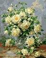 Blumen Malerei bild Durch Zahlen Hand arbeit Zeichnung rosa weiße rose für liebe färbung durch zahlen zimmer dekoration DIY wand kunst-in Malerei und Kalligraphie aus Heim und Garten bei