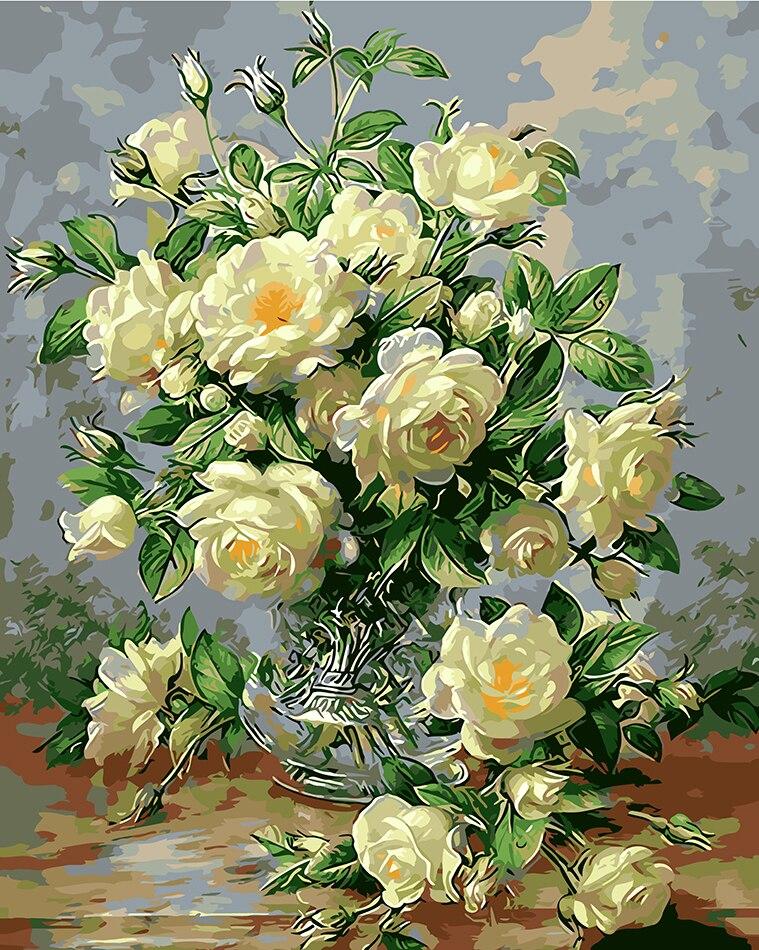 Virágok festményképek számok szerint Kézműves munka Rózsaszín fehér rózsa rajzolása szerelem színezésére számok helyiség díszítéssel DIY fal művészet
