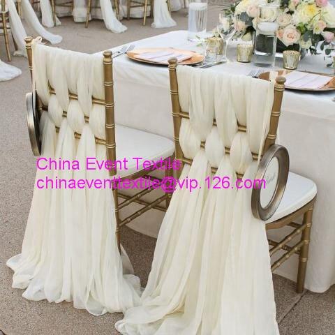 Высокое качество слоновой кости шифон стул створки 50X220 см для свадьбы события и банкет и вечерние украшения