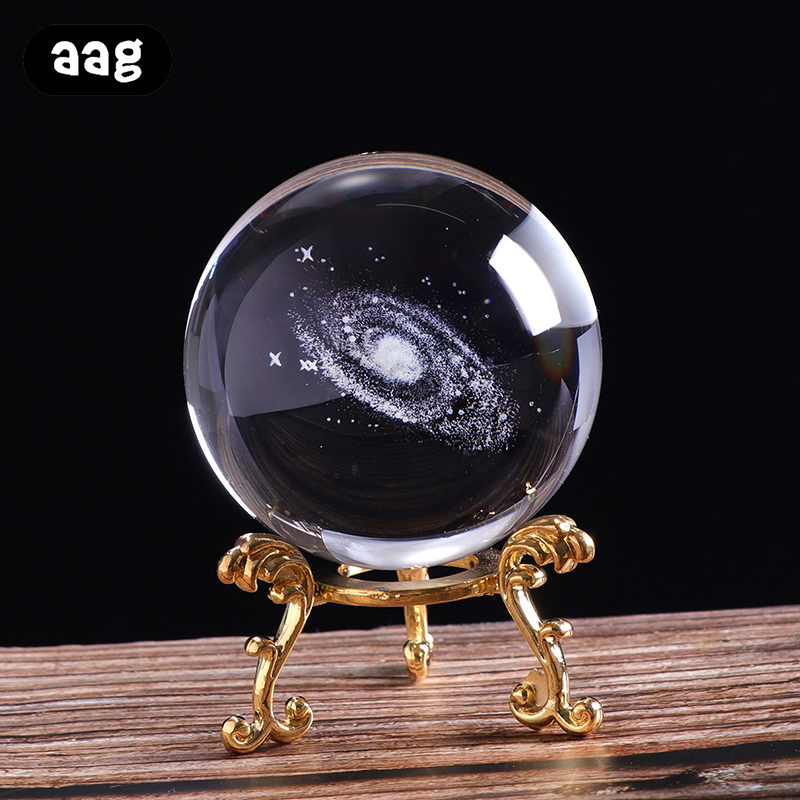 6cm Glass Galaxy Crystal Ball 3D Laser Engraved Solar System Ball Miniature Planet ModelSphere WeddingpartyHome Decorative Balls