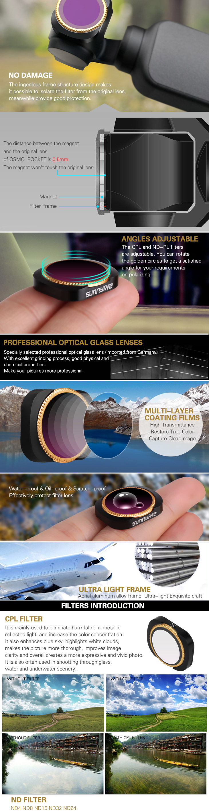 IN Stock UV CPL ND4PL ND8PL ND16 PL ND 32 PL ND 64 PL Camera Lens Filter for DJI OSMO POCKET Gimbal Accessories 6