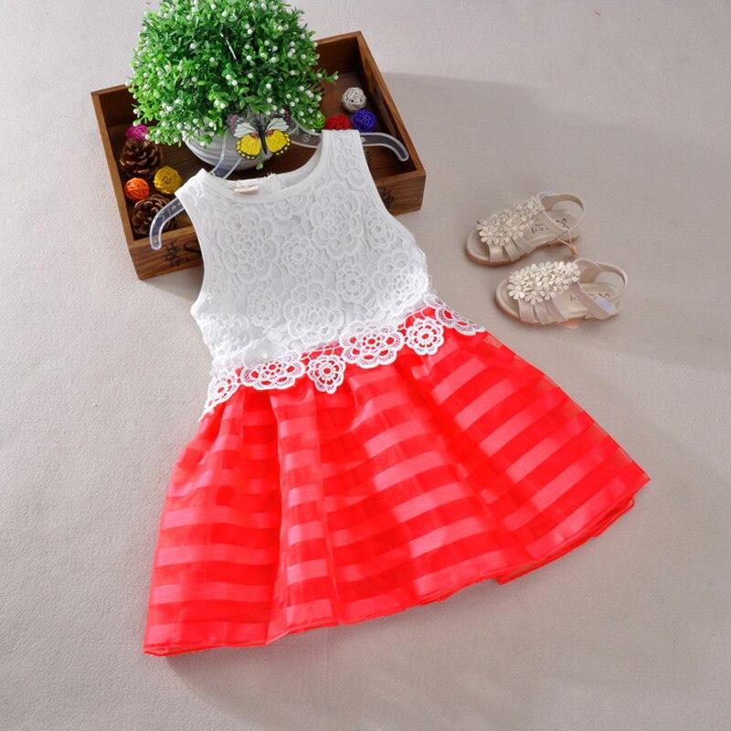 Nuevo 2017 Niñas Vestidos de Moda Casual de Verano crochet Encaje Tutu Dress Kid