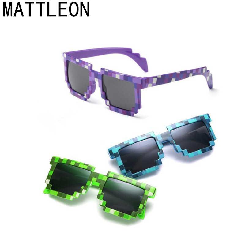 8c5303feb7 2019 nuevo Minecraft gafas de 8 bits Pixel mujeres hombres gafas de sol  mujer hombre mosaico