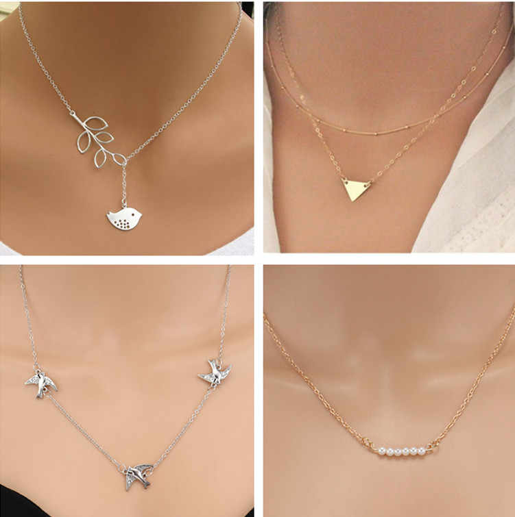 Seblasy New Fashion Multi Layer Animal Bird Elephant Cross Simulated Pearl Choker Necklaces for Women Charms Chain Jewelry Colar