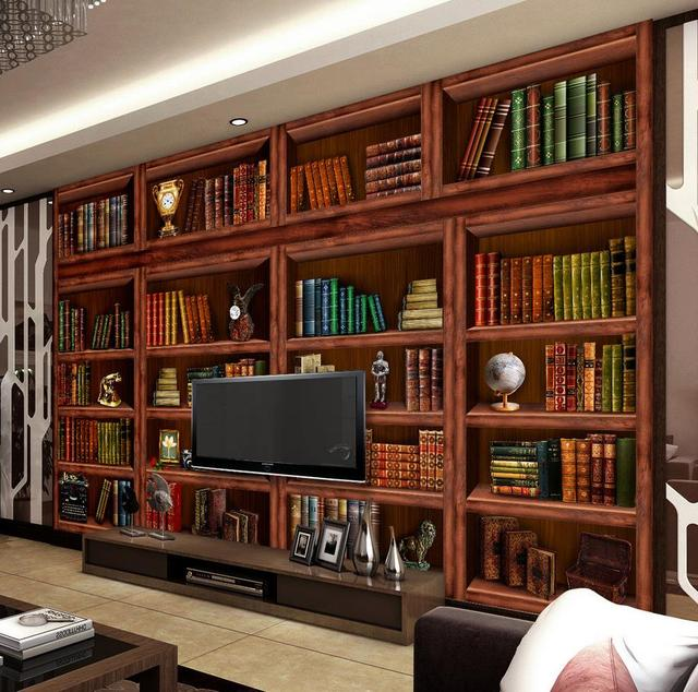 Customized Wallpaper For Walls Living Room Bookcase Wall Mural Photo Home Decoration
