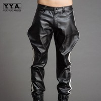 High Quality Luxury Mens Trousers Black Pu Leather Male Pants Casual Loose Fit Trousers Streetwear Motorcycle Pants Plus Size