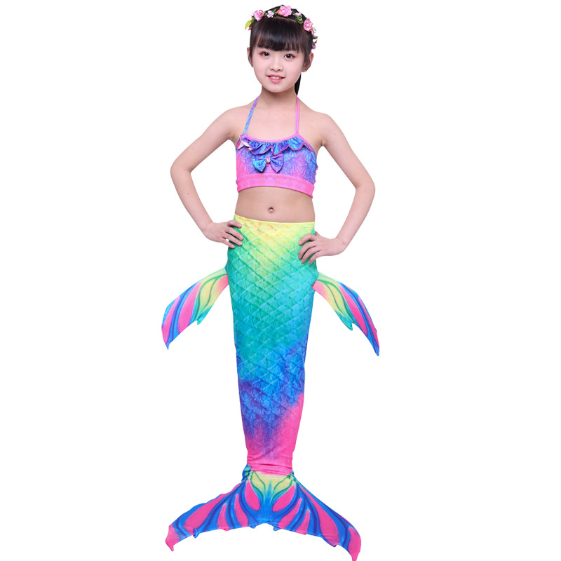 Girls Kids Mermaid Swimsuit Bikini Mermaid Tail With Finned Swimsuit Child's Wear Split Swimsuit Mermaid Tail Clothing Swimwear