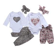 Pudcoco Newborn Kid Baby Girl Leopard Heart Clothes Floral Jumpsuit Bodysuit+Long Pants Outfit Set 0-24M new