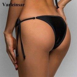 2020 Micro Mini Tiny String Tie Bikini Bottom Swim Brief Women Swimwear Female Bather Brazilian Tanga Panties Underwear V08B