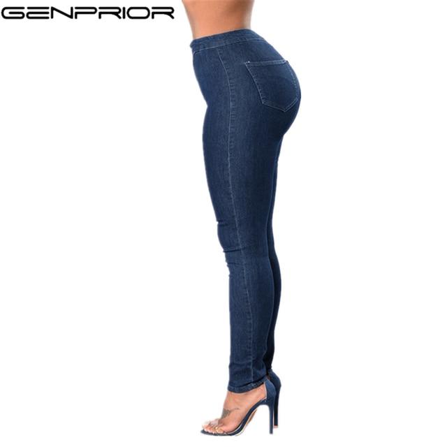 18eadfbc087 GENPRIOR señora de gran tamaño de alta cintura Sexy Jeans Denim elástico  pantalones flacos otoño Legging