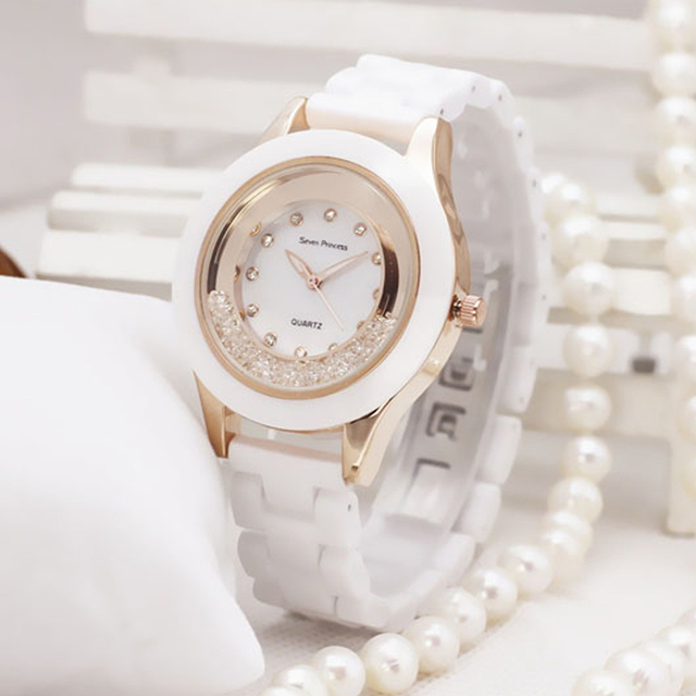 Luxury Fashion Womens Watch Dress Ceramic Ladies Watch White Simple Quartz Wrist