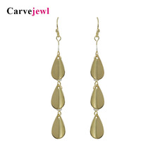Carvejewl long earrings  metal tear drop pearl pendant dangle for women jewelry plastic hook anti allergy