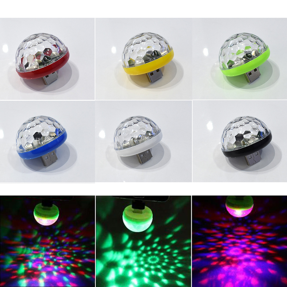 Sound Control Crystal Magic Ball Light RGB Mobile Phone Usb Crystal Magic Ball Stage Lamp 3w Small Colorful Dj Little Magic Ball