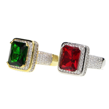 Gothic big stone Rings modern Style Fashion Jewelry For Men Woman Jewelry bijoux Men's Ring With Stone Square ring Gem Red CZ
