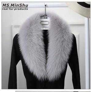 Image 4 - Ms.MinShu bufanda de cuello de piel de zorro genuino para mujer, bufanda de piel de zorro 100%, piel de zorro Natural, calentador de cuello, hecho a medida