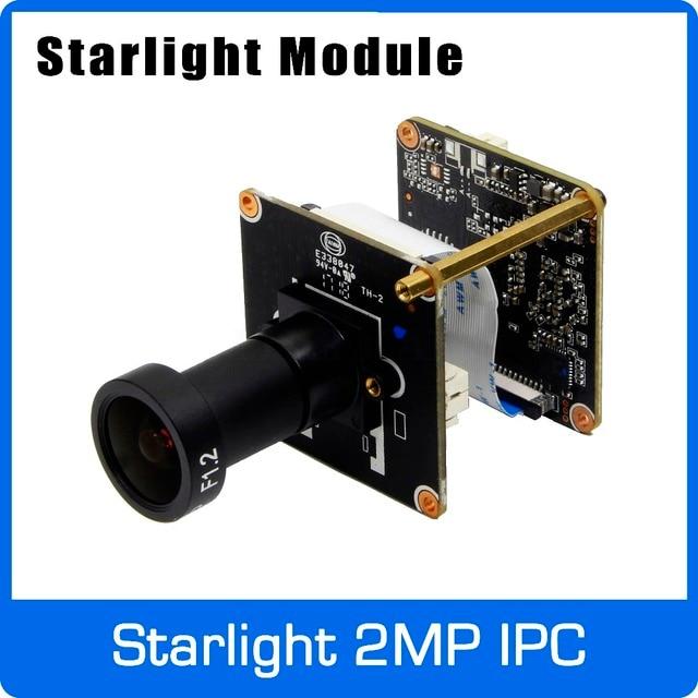 Cámara IP Starlight 1080P H265 Módulo de placa de uso SONY IMX307 Sensor y HI3516EV100 con lente F1.2 4mm envío gratis