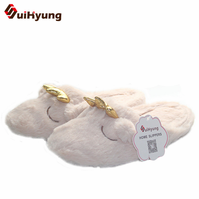 Suihyung Women Winter Warm Furry Bear Shape Indoor Shoes Home Slippers Soft Bottom Non-slip Bedroom Floor Slippers Cotton Shoes women floral home slippers cartoon flower home shoes non slip soft hemp slippers indoor bedroom loves couple floor shoes