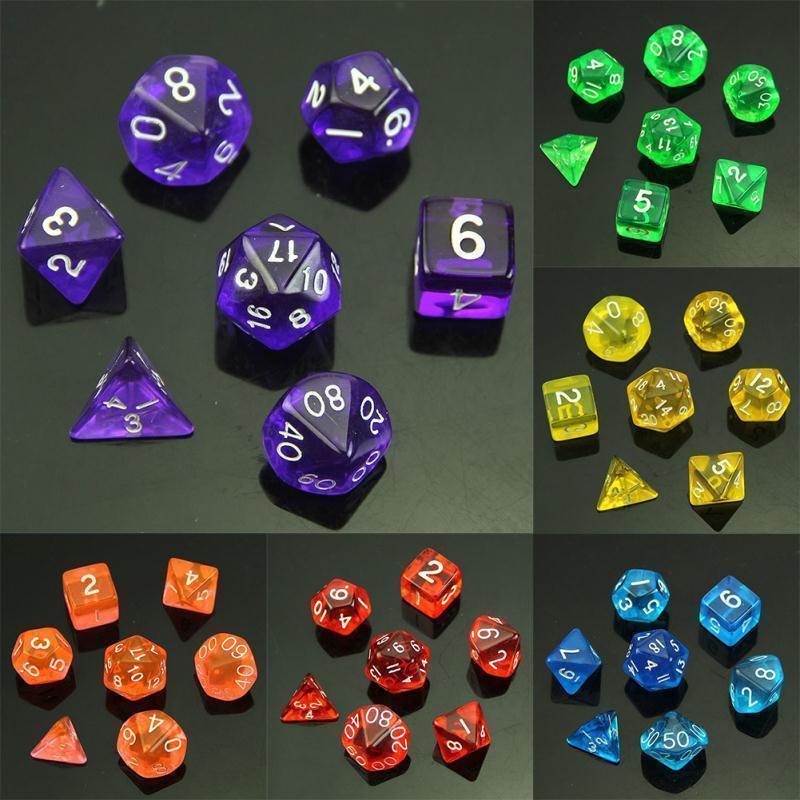 1 Set Of 7 Sided Dice D4 D6 D8 D10 D12 D20 For MTG RPG D&D Poly Dice Board Game