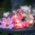1X Battery Opetated 1.5m 10Led Red Flamingo LED String Light Girl's Gift Lamps  Bedroom Babyroom String Lights Home Party Decor
