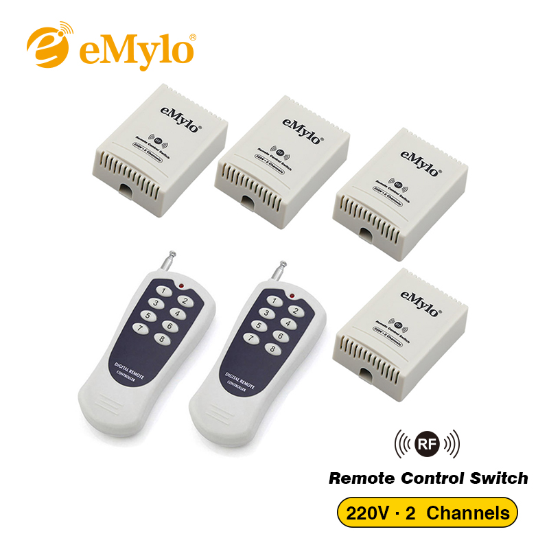 eMylo RF 433Mhz Smart Wireless Remote Control Switch AC 220V 1000W Transmitter 4X 2Channels Relays for Light Motor Free shipping