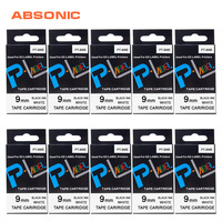 Absonic 10PCS for Casio Label Tape XR 9WE 9mm Printer Supplies Black on White Compatible Casio KL 60 KL 100 KL 120 KL 750 KL 820