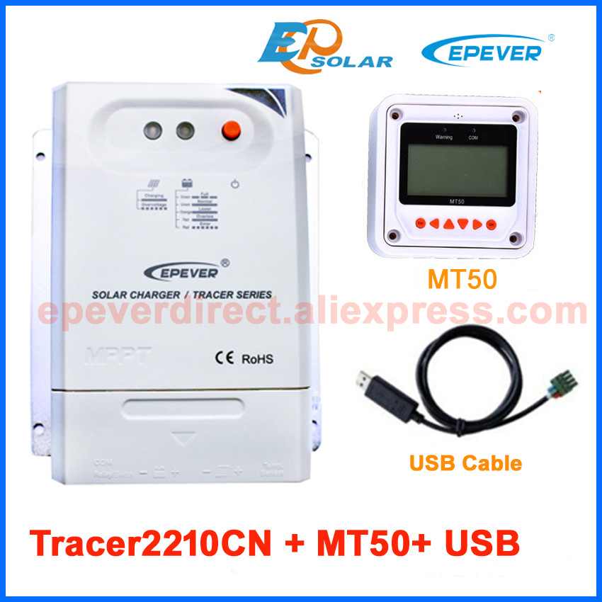 Solar Portable Controller 12V 24V automatic work EP series MPPT Tracer2210CN 20A 20amps USB cable and MT50 remote Meter цена